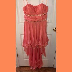 Tangerine high to low formal dress
